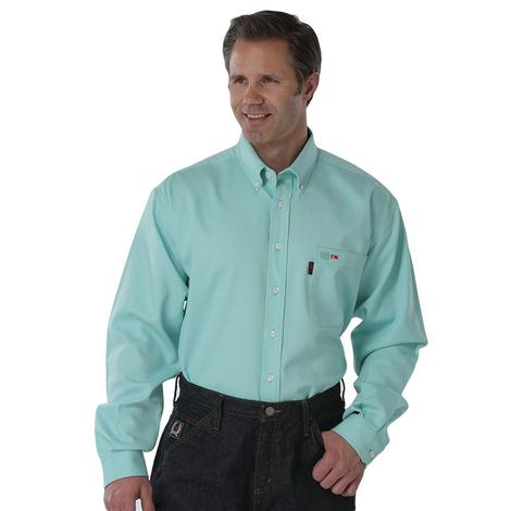 Cinch Mens Fire Retardant Mint Green Long Sleeve Button Down Shirt