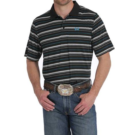 Cinch Mens Black and White Striped Collared Short Sleeve Shirt