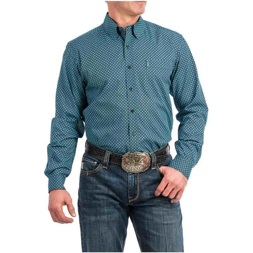Cinch Modern Fit Blue Navy Button Down Long Sleeve Men's Shirt