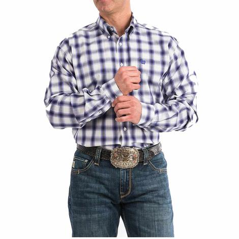 Cinch Purple and White Plaid Long Sleeve Men's Shirt