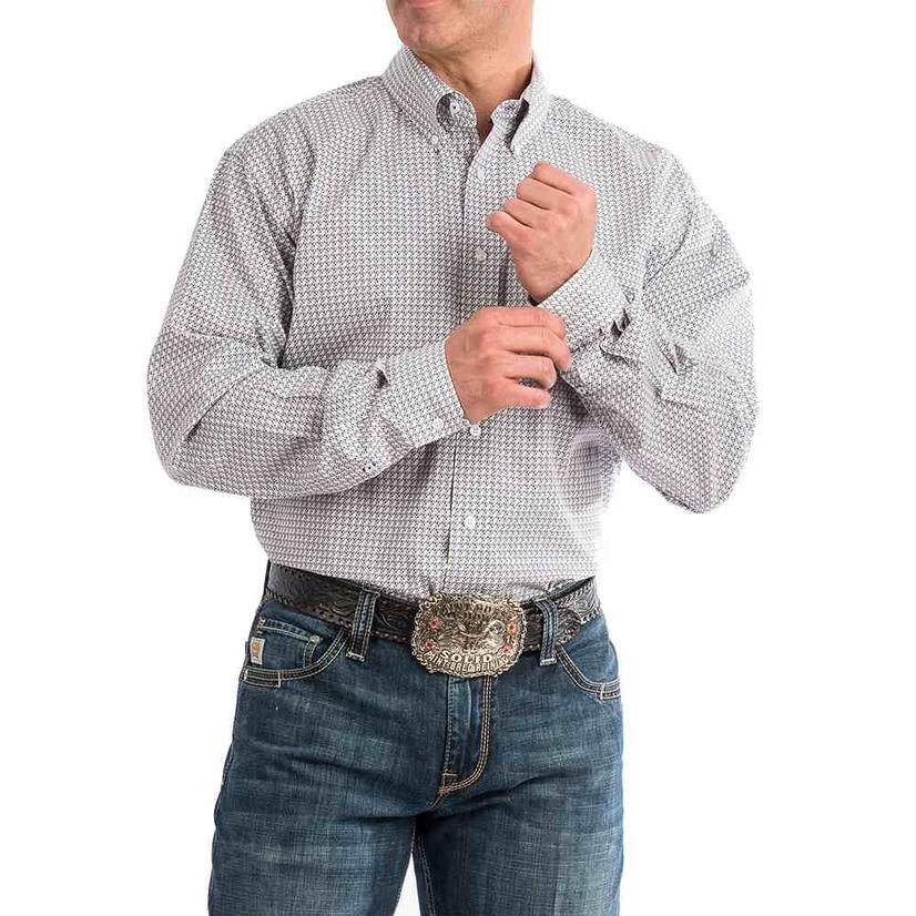 Cinch Purple Grey Geo Print Long Sleeve Men's Shirt