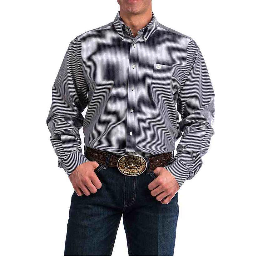 Cinch Navy Cream Vertical Stripe Long Sleeve Men's Shirt