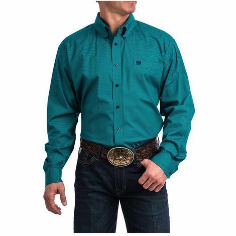 Cinch Teal Floral Print Long Sleeve Button Down Men's Shirt
