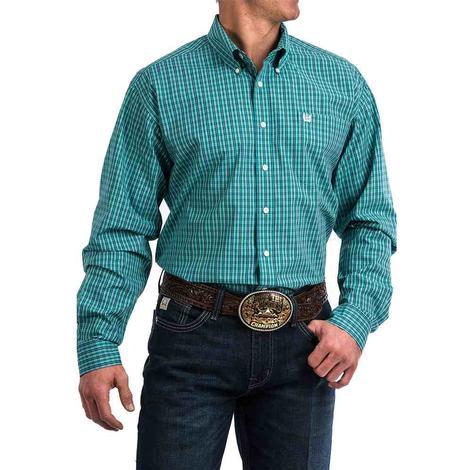 Cinch Teal Green Plaid Long Sleeve Button Down Men's Shirt