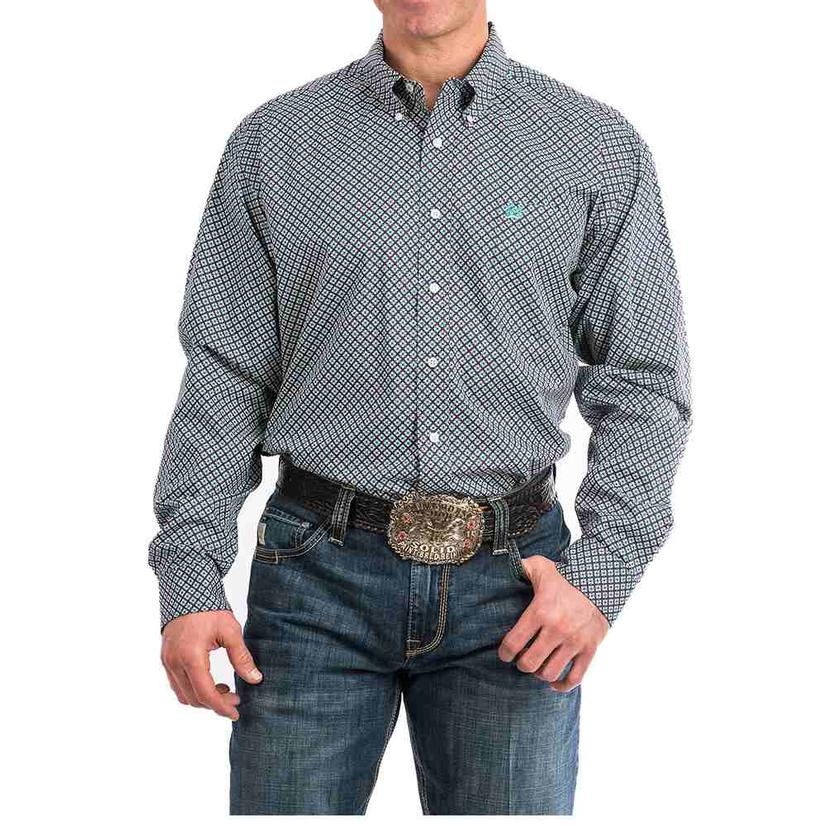 Cinch Burgundy Teal Geo Print Men's Shirt