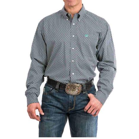 Cinch Burgundy Teal Geo Print Men's Shirt