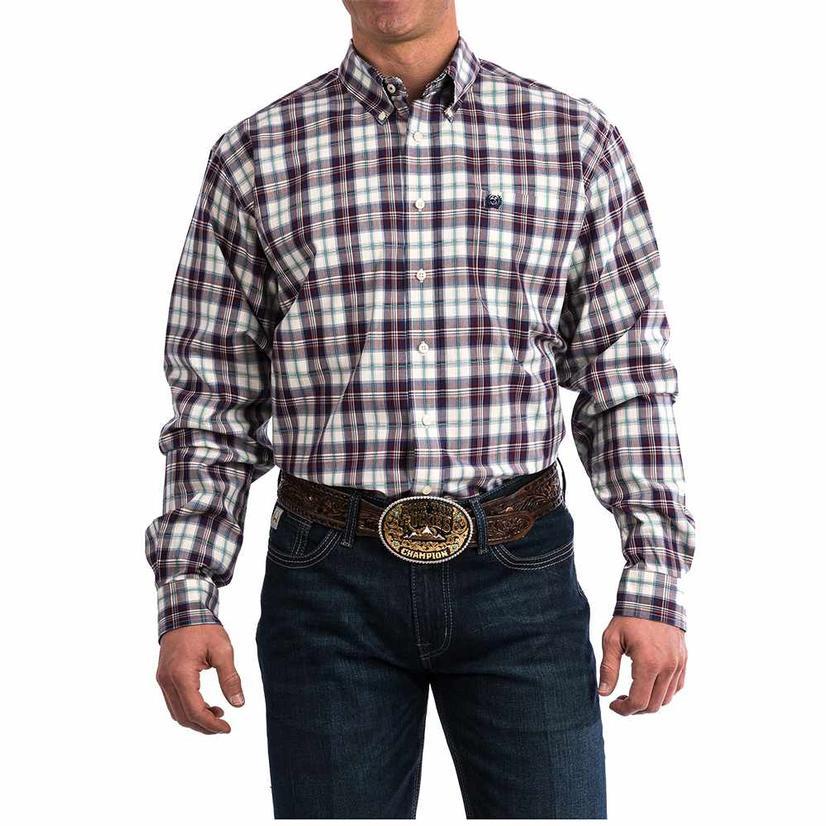 Cinch Burgundy Plaid Long Sleeve Men's Shirt