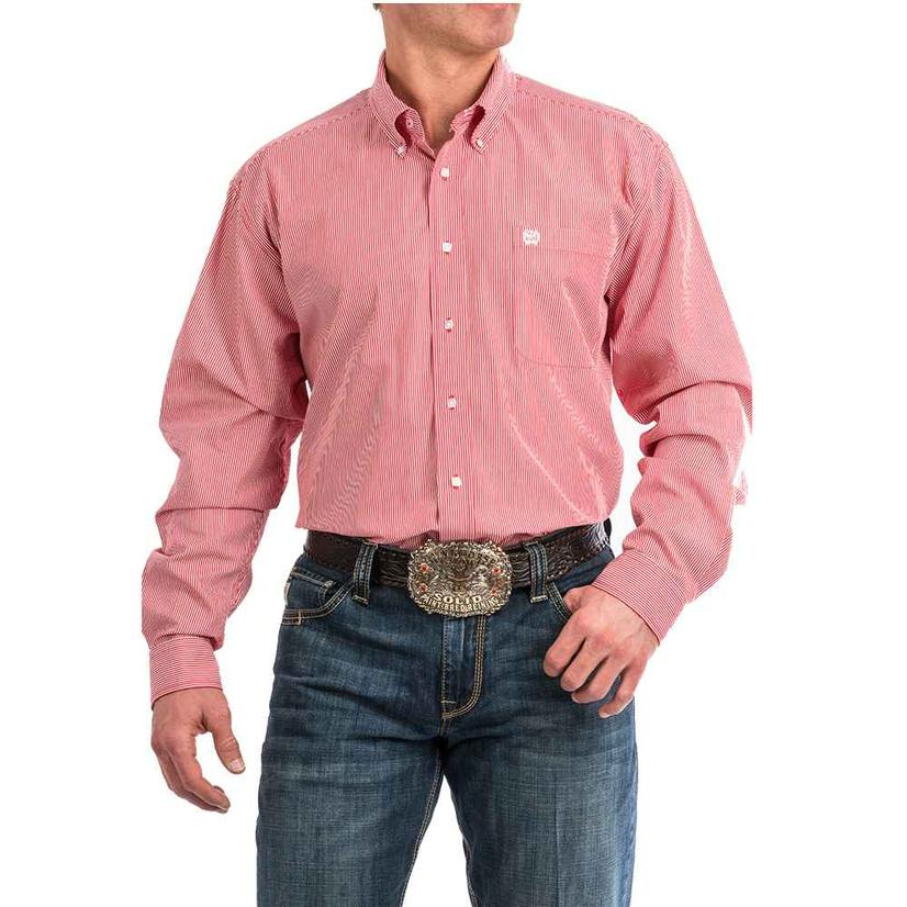 Cinch Red Vertical Stripe Button Down Men's Shirt