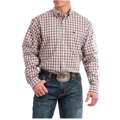 Cinch Red Grey Plaid Long Sleeve Button Down Men's Shirts