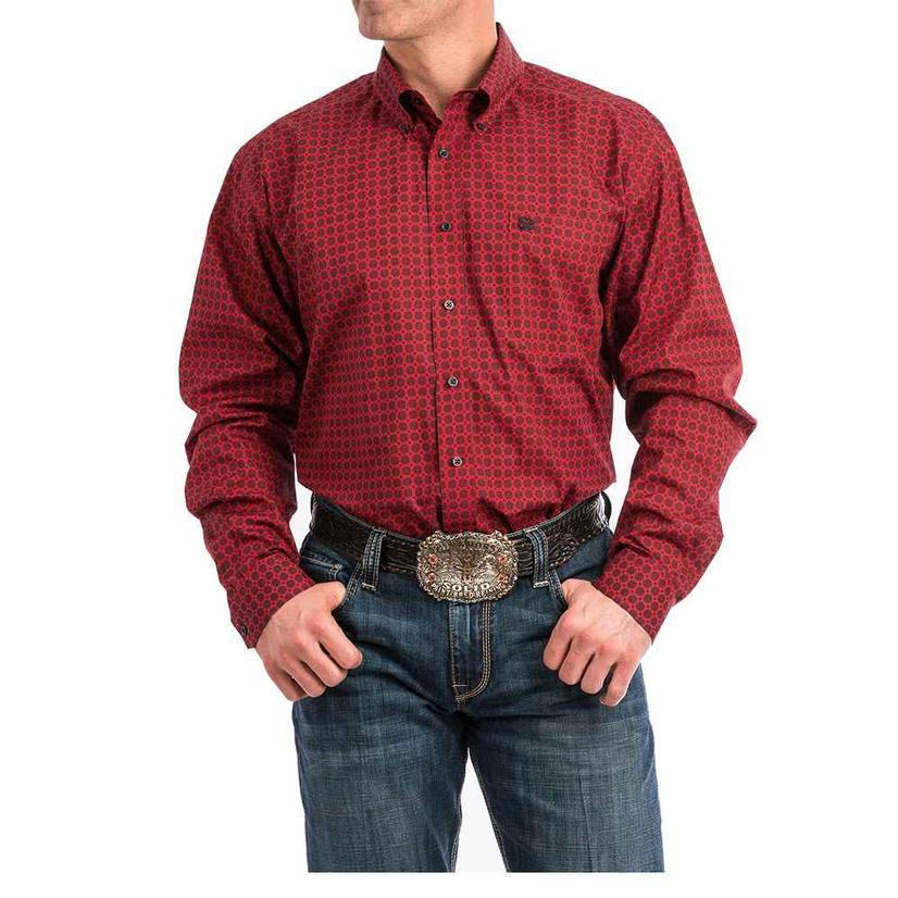 Cinch Red Black Print Long Sleeve Button Down Men's Shirt
