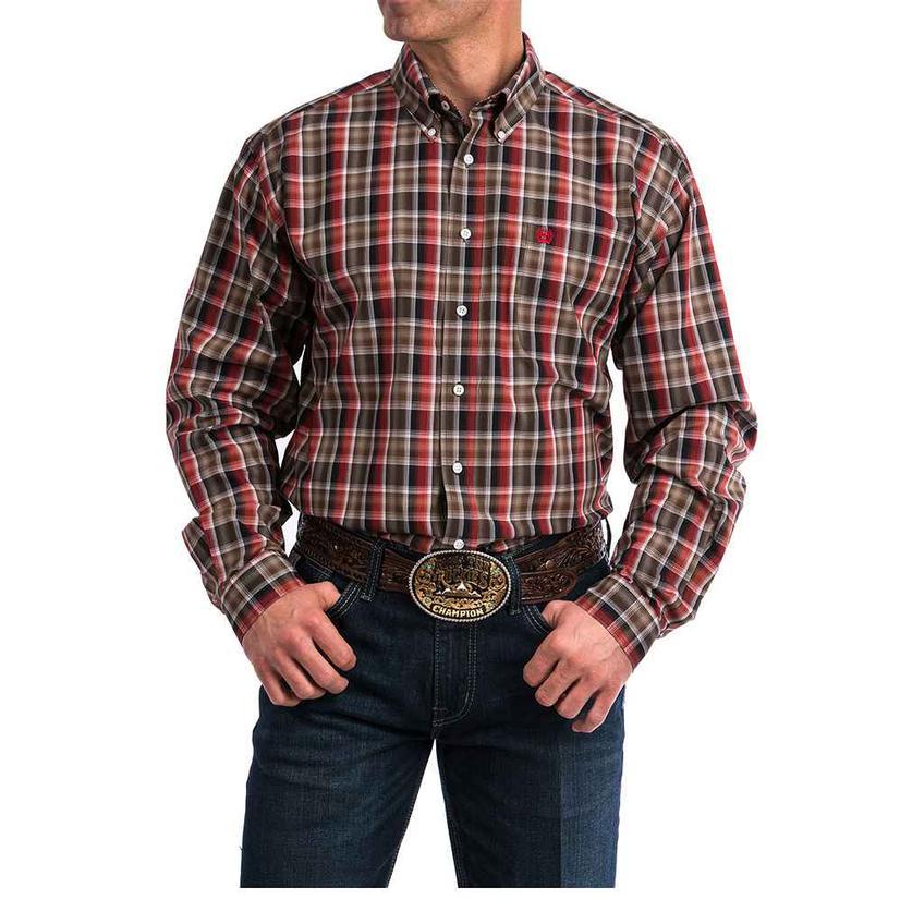Cinch Multi Print Plaid Long Sleeve Button Down Men's Shirt