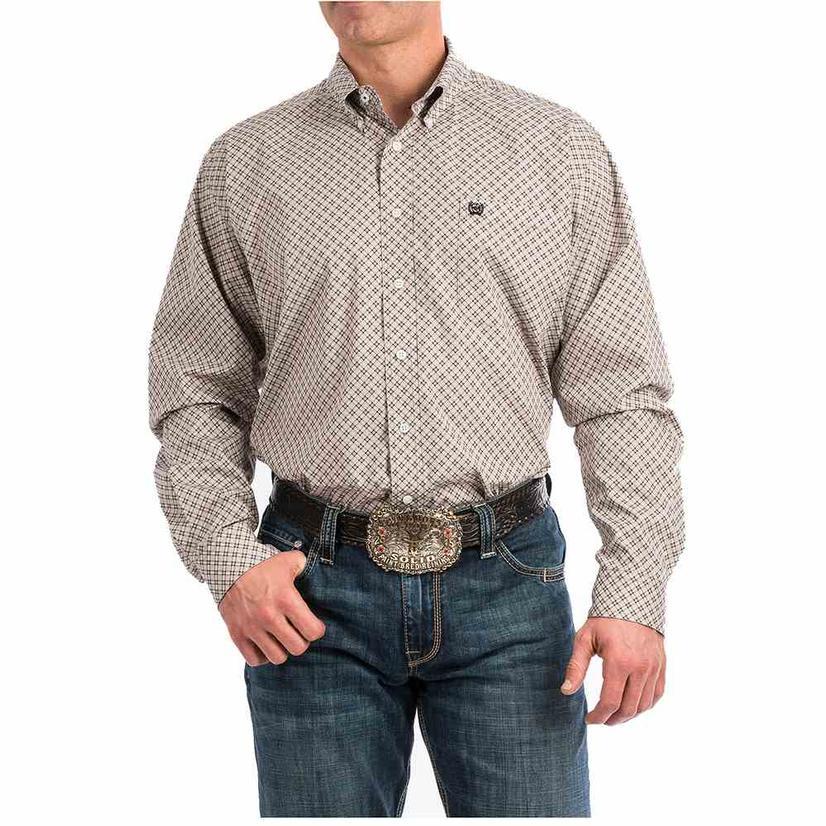 Cinch Brown Geo Print Long Sleeve Button Down Men's Shirt
