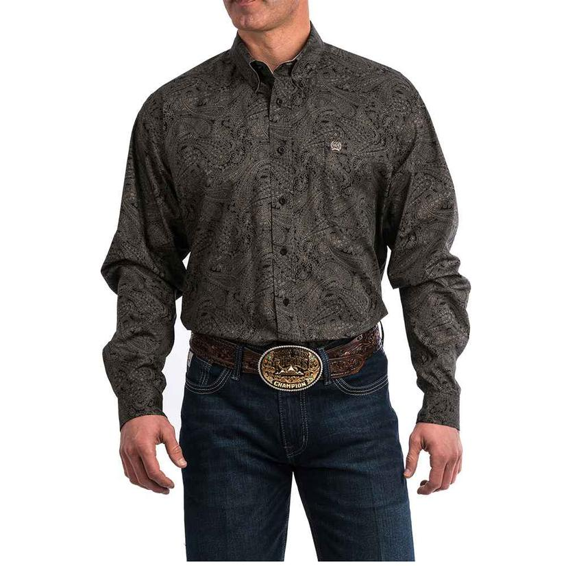 Cinch Brown Paisley Long Sleeve Men's Shirt
