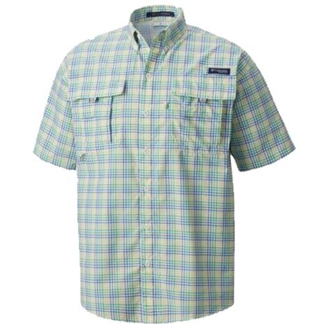 Columbia Mens Super Bahama Short Sleeve Sunlight Plaid Shirt