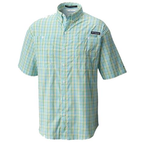 Columbia Mens Super Tamiami Riptide Check Short Sleeve Shirt