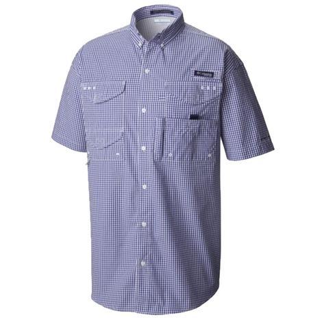 Columbia Super Bonehead Collegiate Navy Gingham Short Sleeve Shirt
