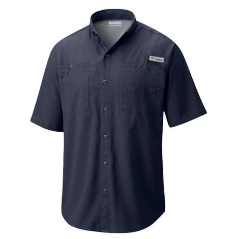 Columbia Mens Tamiami Collegiate Navy Short Sleeve Shirt