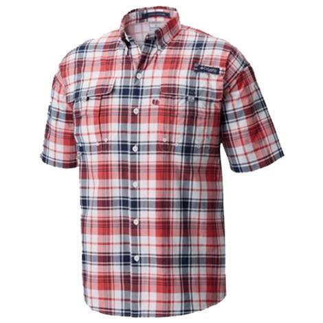 Columbia Mens Super Bahama Sunset Red Short Sleeve Shirt