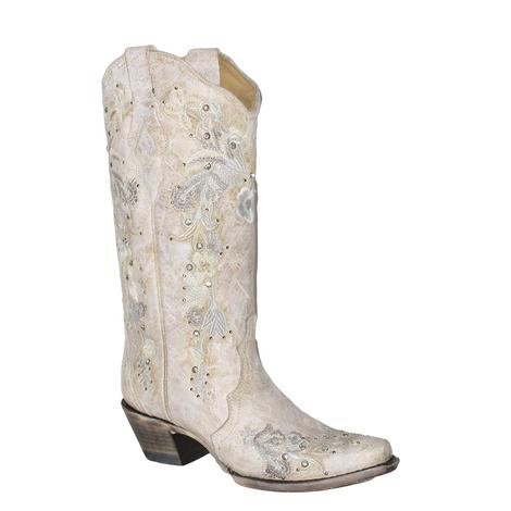 Corral Womens White Floral Embroidery Boots