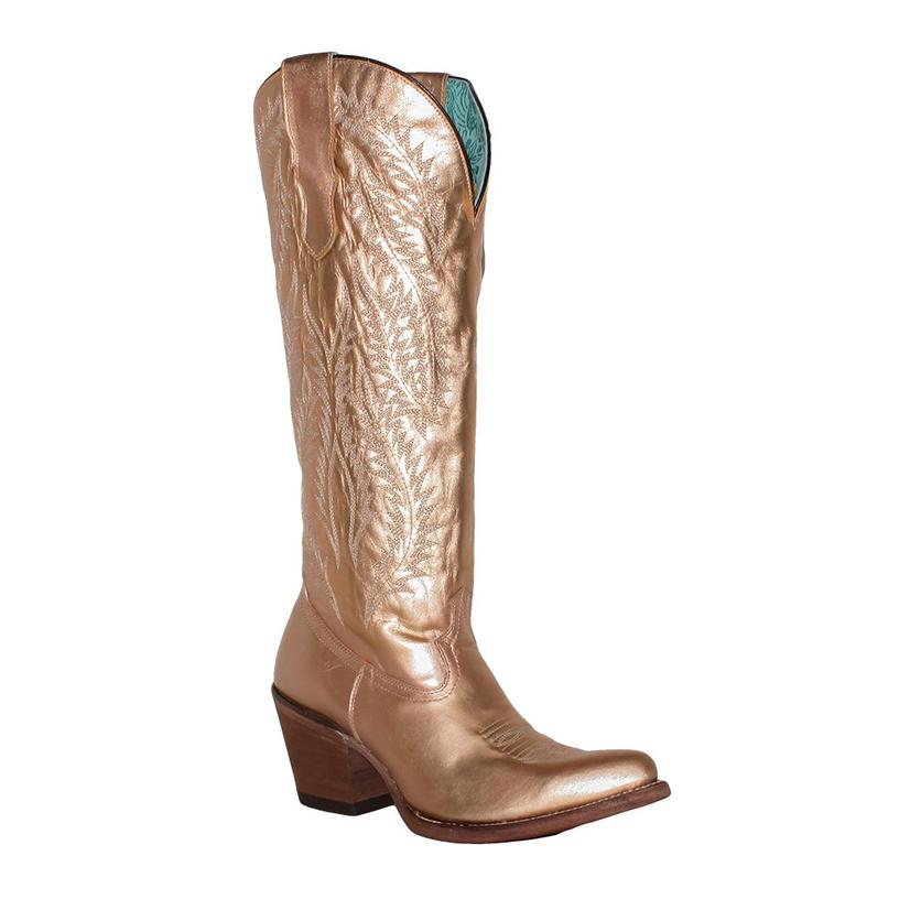Corral Womens Gold Embroidery Tall Top Boots