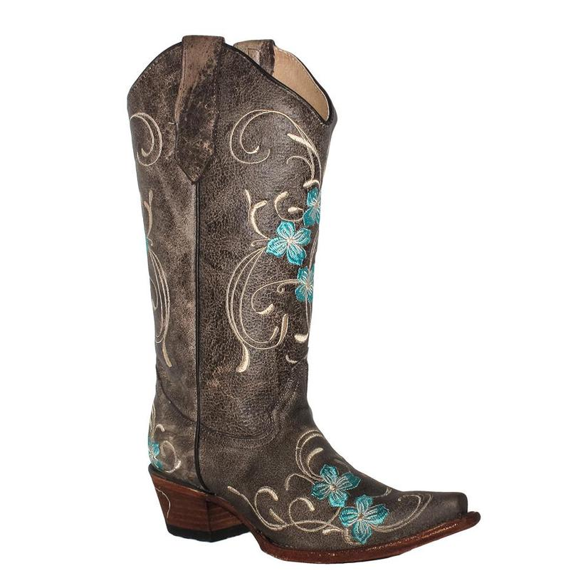 Corral Womens Brown With Turquoise Floral Embroidery Boots