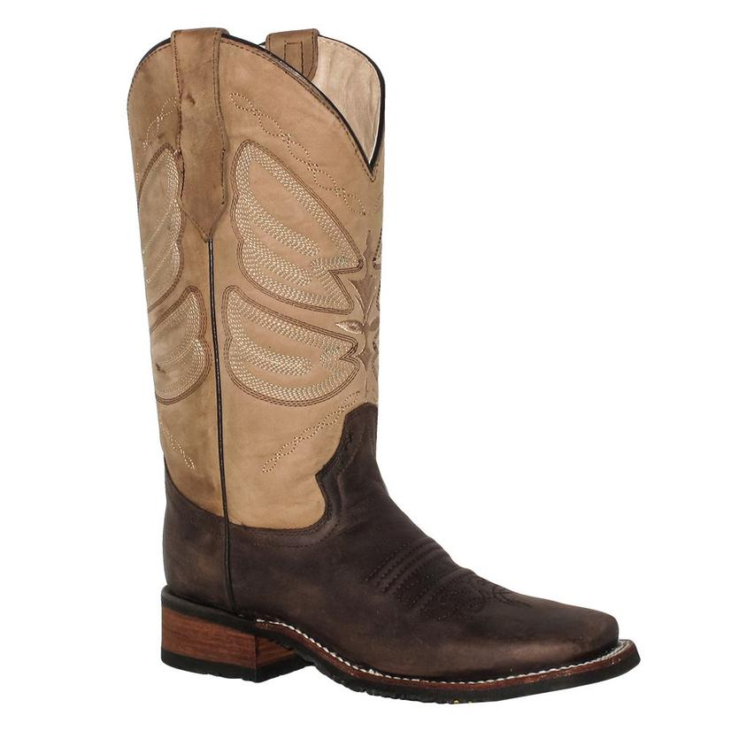 Circle G Womens Chocolate And Mocha Rubber Sole Boots