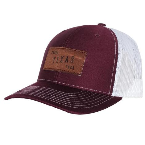 STT Leather Patch Maroon White Mesh Back Cap