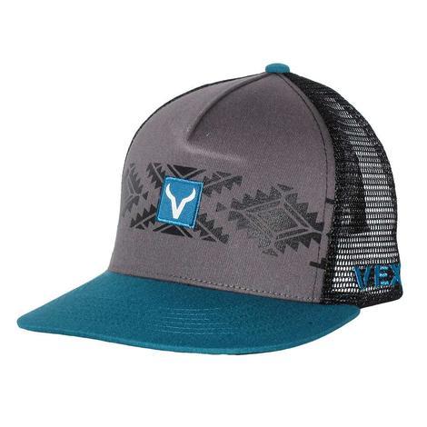 Vexil Grey and Turquoise Aztec Print Mesh Back Cap