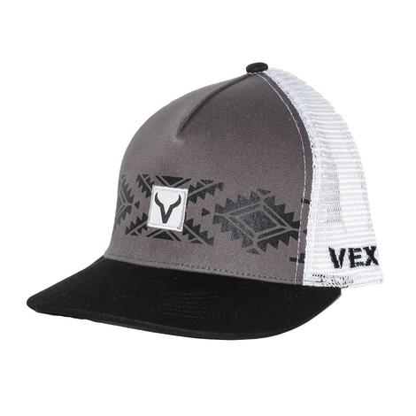 Vexil Grey White Aztec Striped Mesh Back Cap