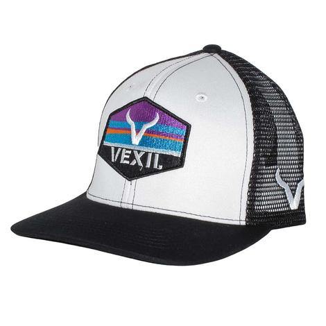 Vexil Fearless Black White Multicolor Patch Mesh Back Cap