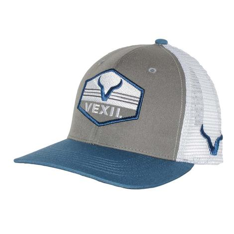 Vexil Blue White Grey Patch Mesh Back Cap