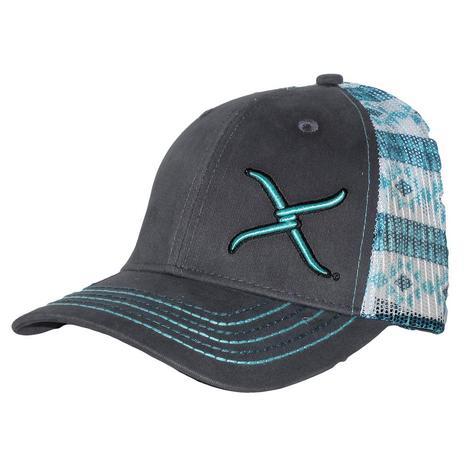 Twisted X Grey Aztec Print Mesh Back Cap