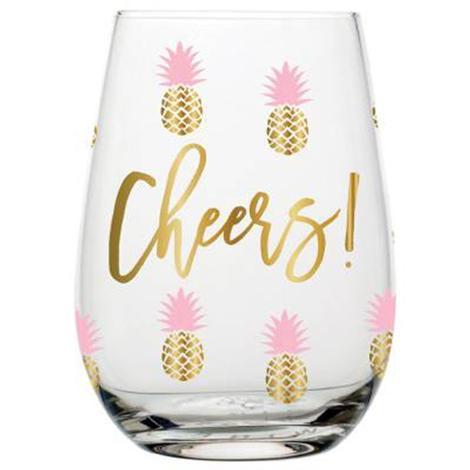 Cheers Pineapple Wine Glass
