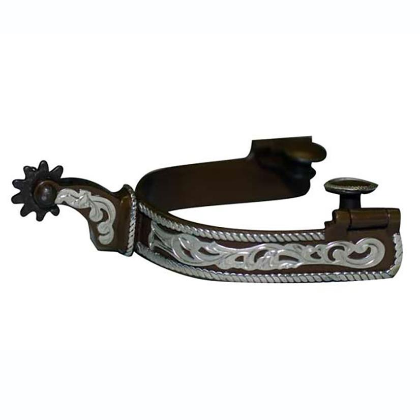 Antique Finish Spur With Rope Edge And Floral Overlay