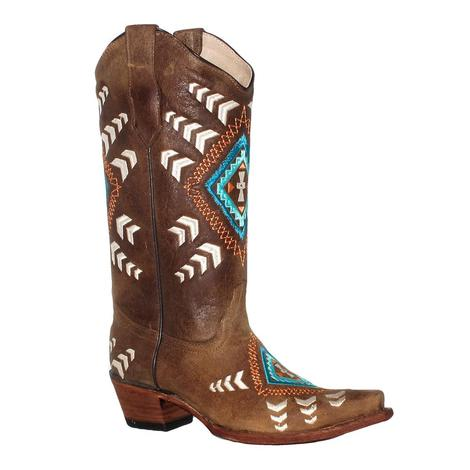 Circle G Womens Cognac Ethnic Embroidery Boots