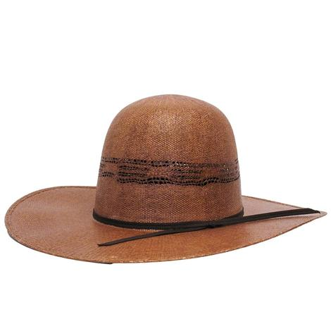 Rodeo King Brown Bangora Open Crown 4.25 Brim Straw Hat