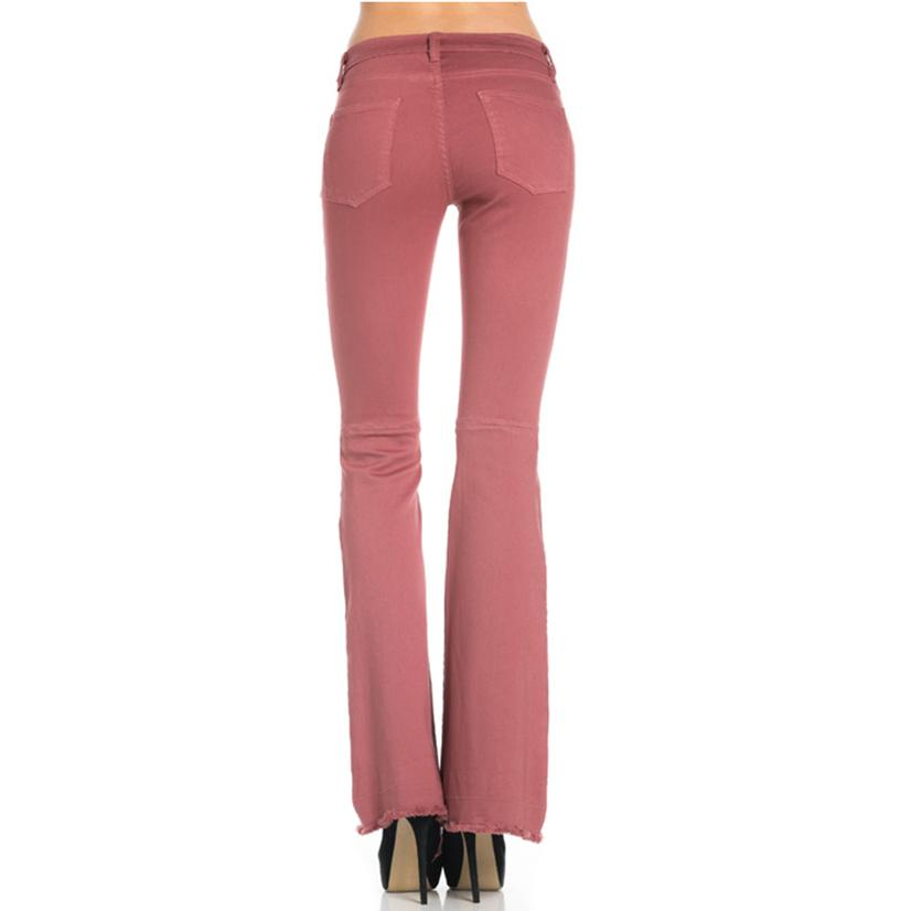 hot product latest style sale online Mauve Mid Rise Flare Leg Jeans