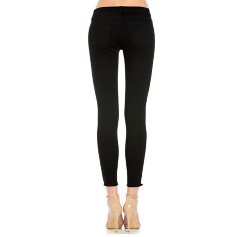 O2 Denim Low Rise Knee Slit Ankle Cut Skinny Jeans