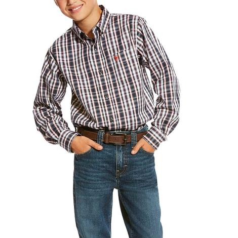 Ariat Multi Color Plaid Long Sleeve Buttondown Boy's Shirt