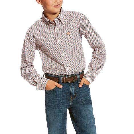 Ariat Calahan Plaid Long Sleeve Button Down Boy's Shirt