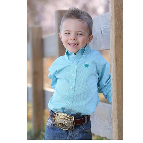 Cinch Toddler Boys Teal Long Sleeve Shirt