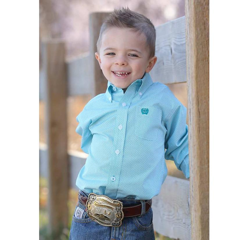 Cinch Infant Boys Teal Print Button Down Shirt