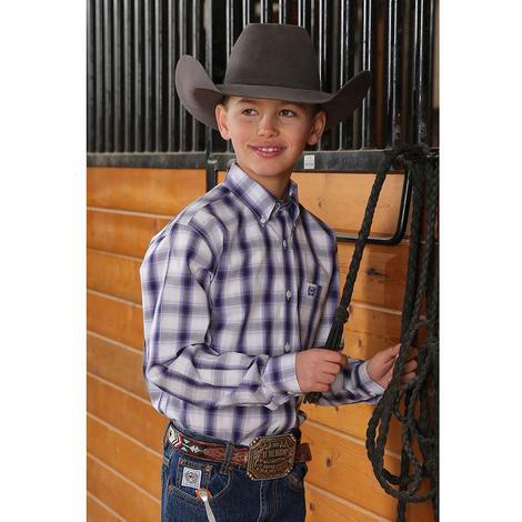 Cinch Purple and White Plaid Long Sleeve Boy's Shirt