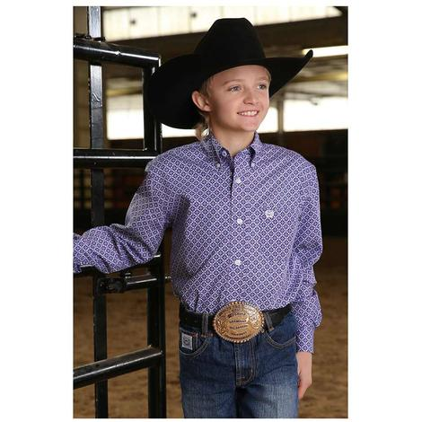 Cinch Purple Floral Print Long Sleeve Boy's Shirt