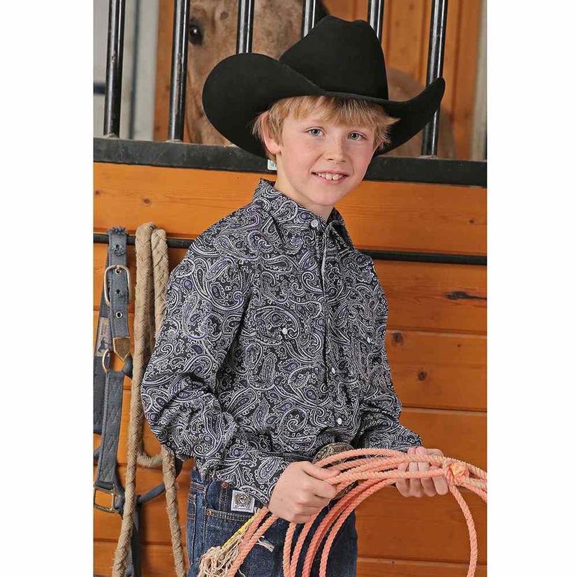 Cinch Black Paisley Long Sleeve Button Down Boy's Shirt