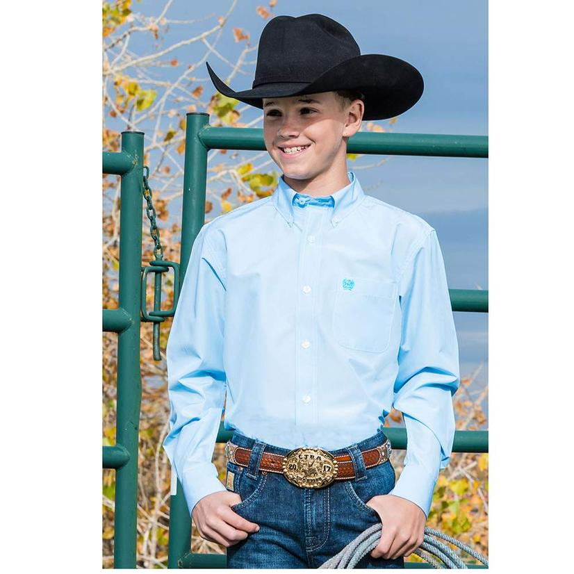 Cinch Light Blue Tencel Button Down Boy's Shirt