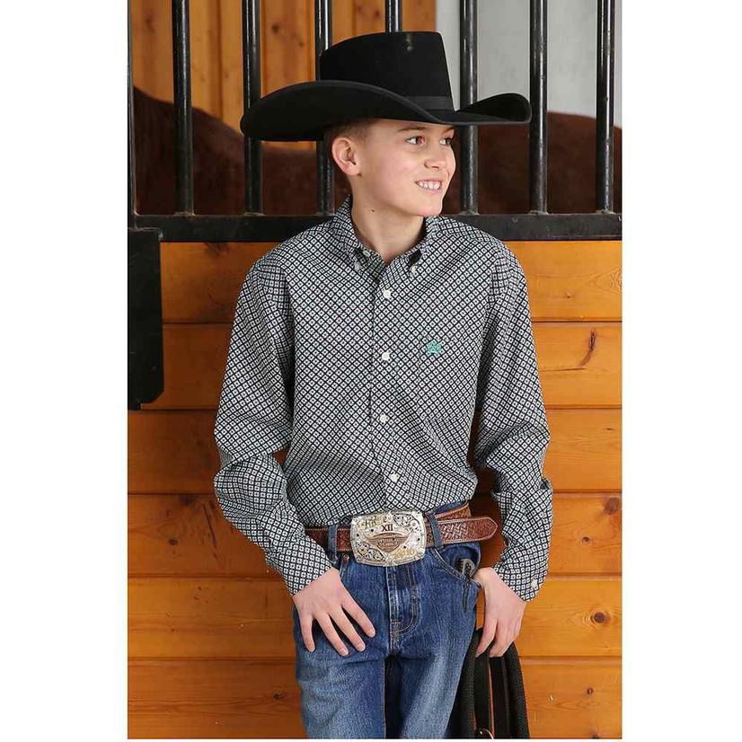 Cinch Teal Floral Long Sleeve Button Down Boy's Shirt