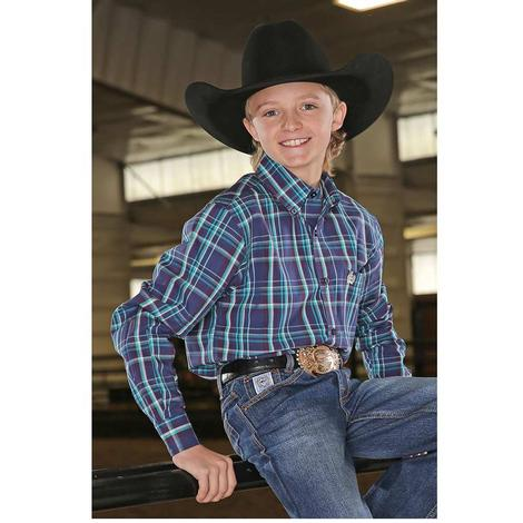 Cinch Blue and Purple Plaid Long Sleeve Boy's Shirt