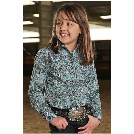 Cruel Girl Blue Paisley Long Sleeve Snap Shirt