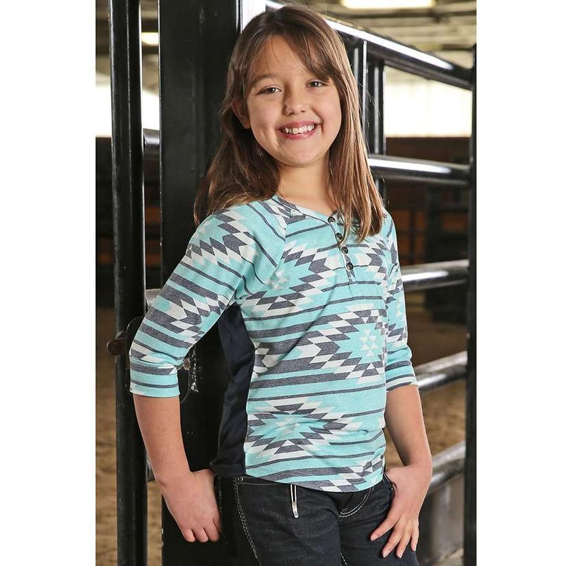 Cruel Girl Blue Aztec Baseball Sleeve Shirt